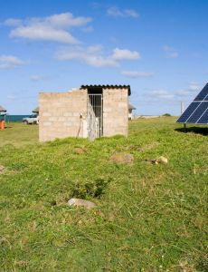 Solar panel in an African countryside house