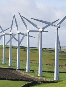 Power generation wind farm 35m in height to the hub and a rotor diameter of 37m on Royd Moor