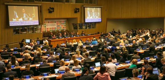 View of the dais during the 2017 HLPF