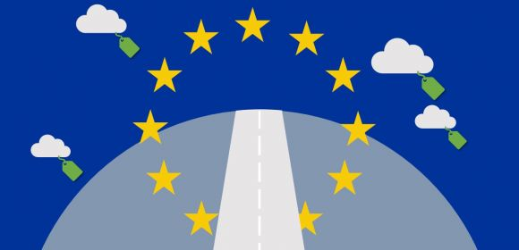 A visualisation of the road forward for the EU: EU flag above a road to the horizon, surrounded by CO2 clouds with price tags