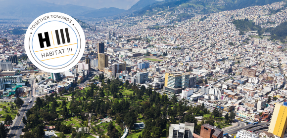 Aerial view of north central Quito sector El Ejido Park and The Panecillo at the bottom. In Quito the Habitat III conference whose negotiations will result in the New Urban Agenda.