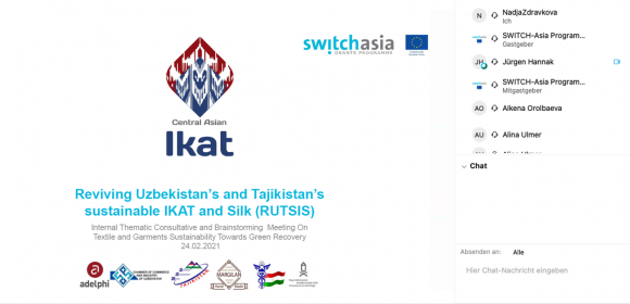 A screenshot of the SWITCH-Asia Event on Textile and Garments and the RUTSIS presentation