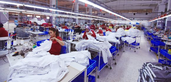 Textile cloth factory working process tailoring workers equipment