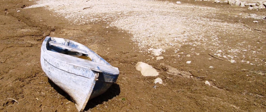 Boat stranded during a drought