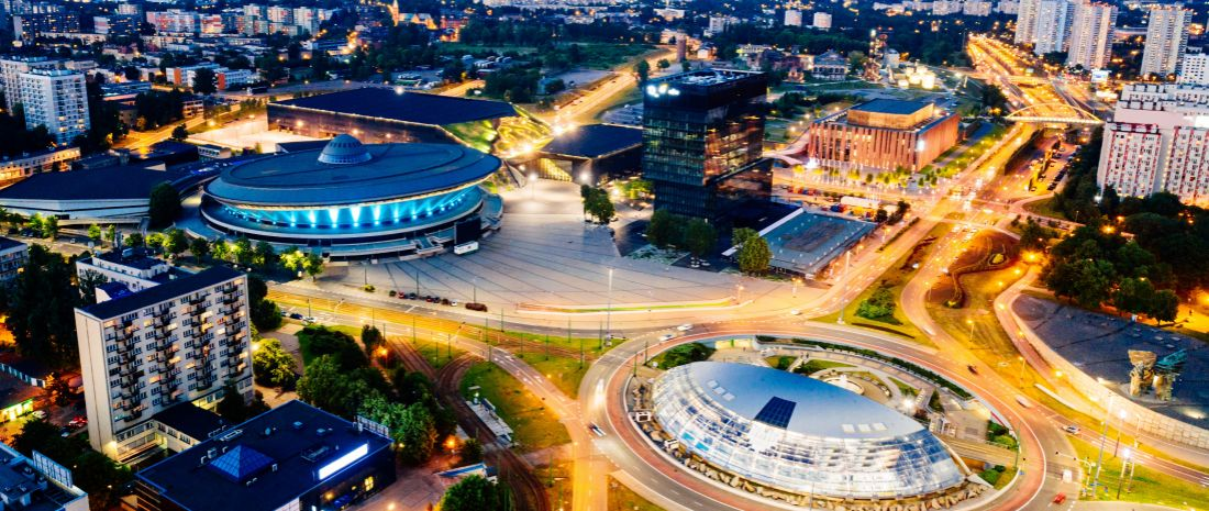 Aerial drone view on Katowice centre and roundabout at night. Silesia, Poland