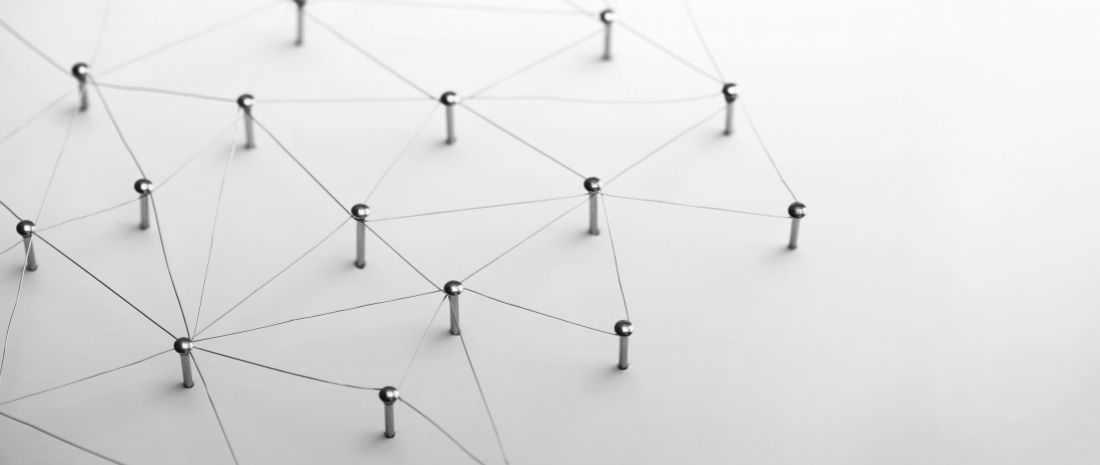 Linking entities. Network, networking, social media, connectivity, internet communication abstract. Web of thin silver wires on white background.