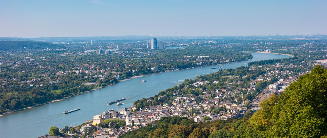 View of Bonn City at summer from the Drachenfels, Germany