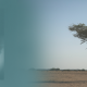 """A member of the Guinean Contingent serving with the United Nations MINUSMA on an airstrip in Kidal, northern Mali. On the left is the cover of the report """"10 Insights on Climate Impacts and Peace"""""""