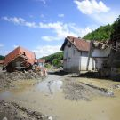 Krupanj-May 19,2014: After recent heavy rains, river Cadjavica went out of stream, causing catastrophic floods and mud slides, wich destroyed town of Krupanj in Macva district in central Serbia.