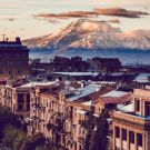 Yerevan City view with majestic Ararat mountain in the background