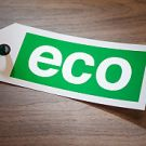Green label with the word eco