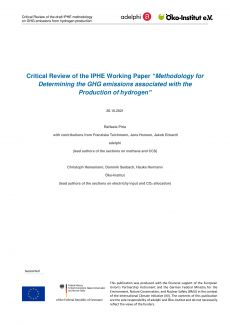Cover_ Critical Review of IPHE Workingpaper on GHG-emissions from H2 production