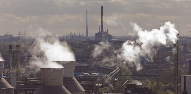Industrial landscape of steel works industry in Duisburg, Ruhr area, Germany, Europe