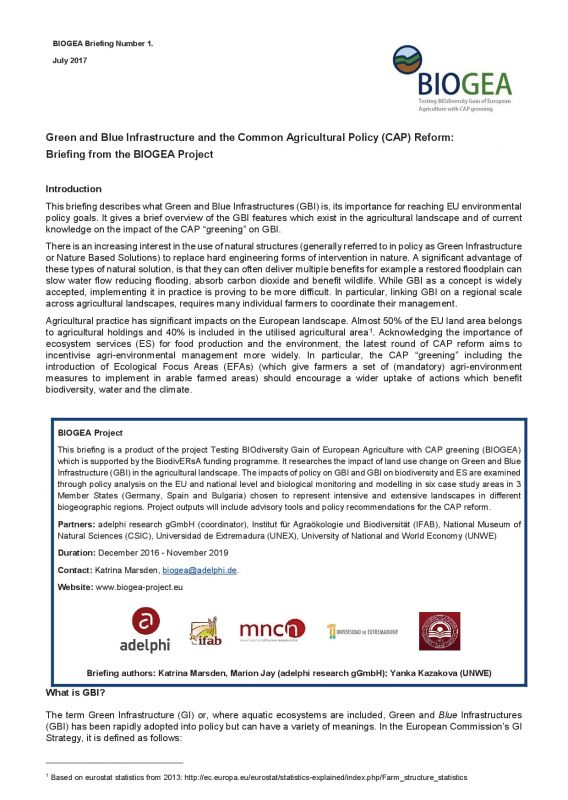 Green and Blue Infrastructure and the Common Agricultural Policy (CAP) Reform