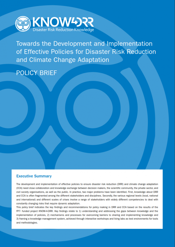 Towards the Development and Implementation of Effective Policies for Disaster Risk Reduction and Climate Change Adaptation