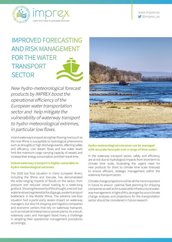 Cover Improved forecasting and risk management for the water transport sector