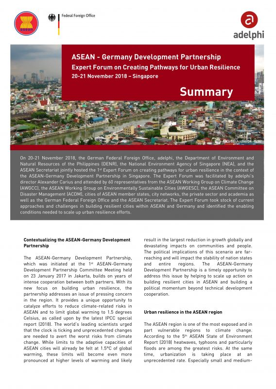 Publikationscover: ASEAN-German Expert Forum on Creating Pathways for Urban Resilience – Chair's Conclusions