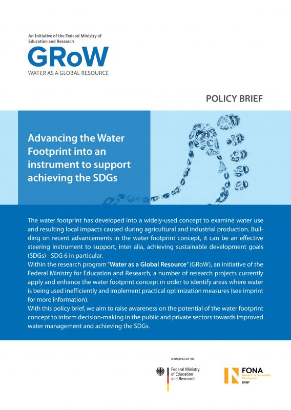 Advancing the Water Footprint into an instrument to support achieving the SDGs - policy brief - GRoW