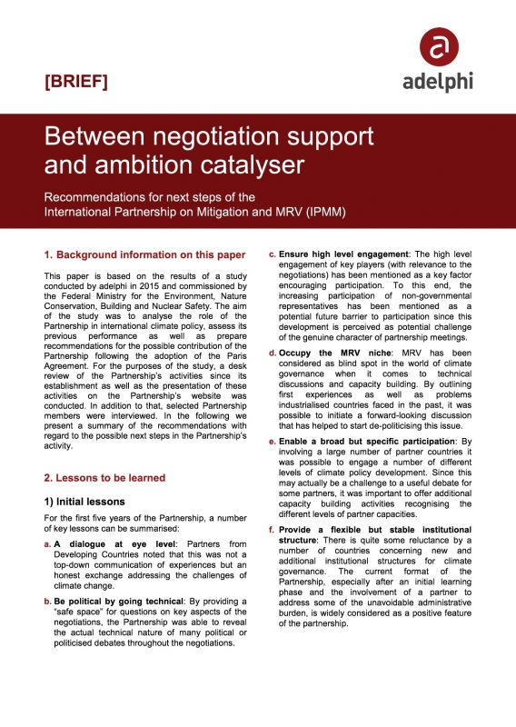 Between Negotiation Support and Ambition Catalyser - adelphi