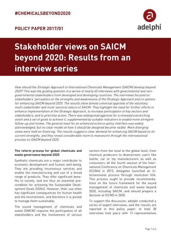 Stakeholder views on SAICM beyond 2020: Results from an interview series - adelphi