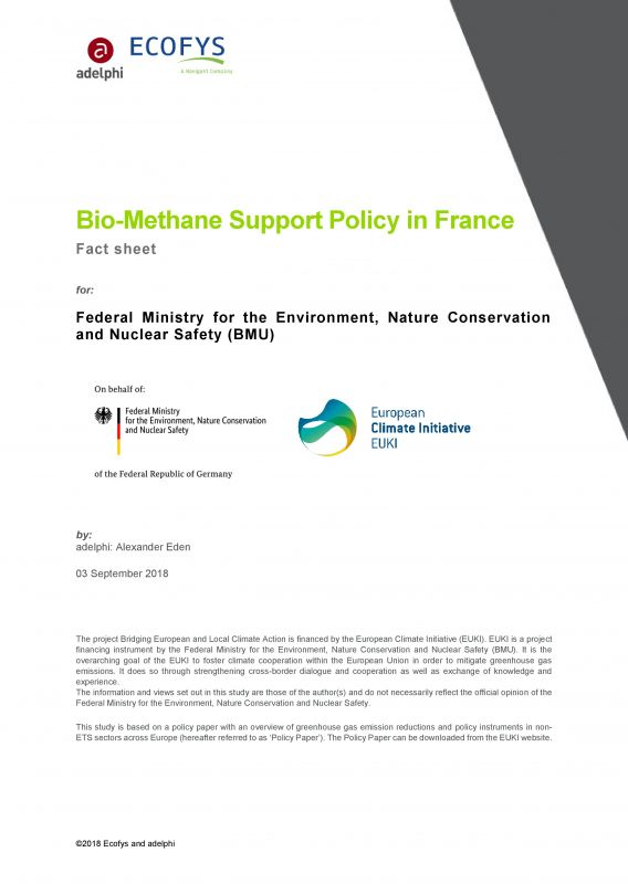 Bio-Methane Support Policy in France