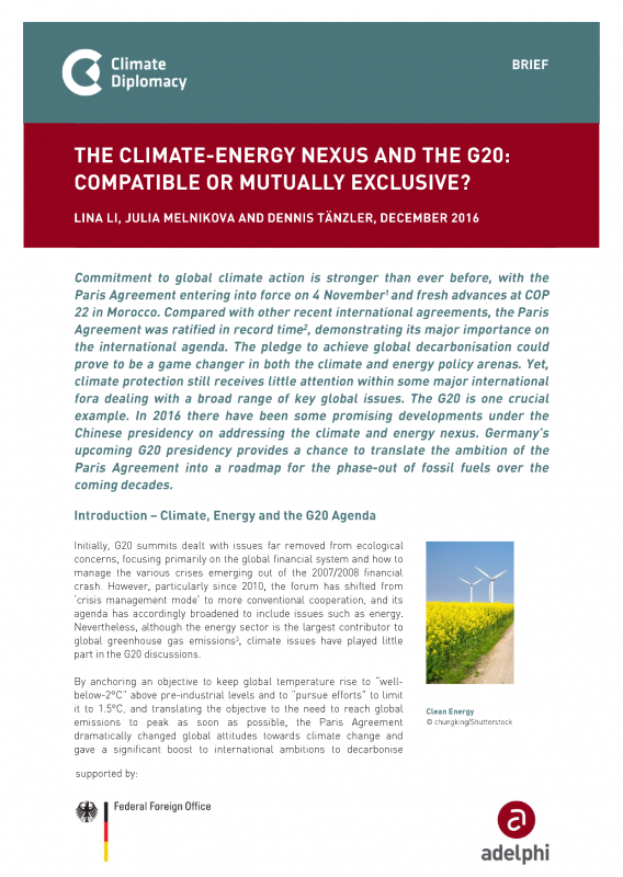 The Climate-Energy Nexus and the G20: Compatible or mutually exclusive? - adelphi