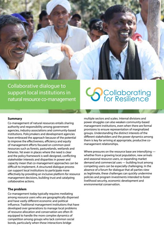 Collaborative dialogue to support local institutions in natural resource co-management