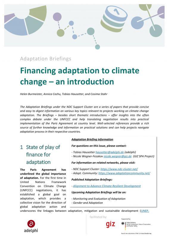 Cover Financing adaptation to climate change