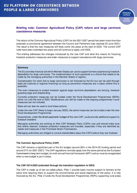 Cover Briefing note - CAP reform and large carnivore coexistence measures