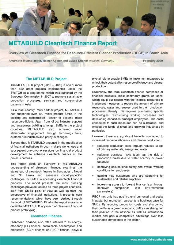 Cover METABUILD Cleantech Finance Report