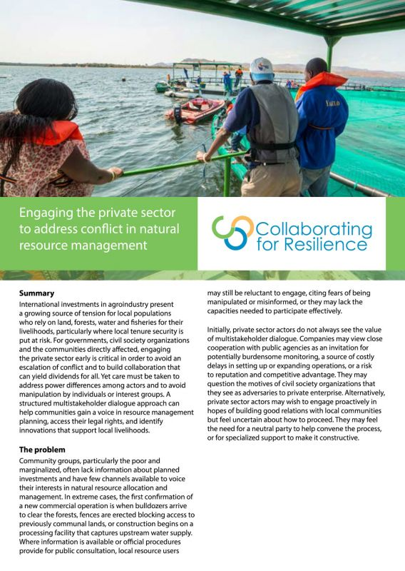 Engaging the private sector to address conflict in natural resource management
