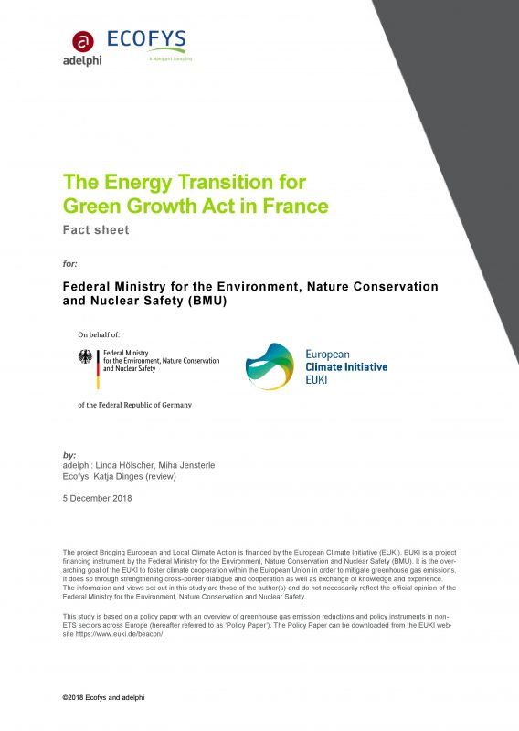 The Energy Transition for Green Growth Act in France - cover publication - adelphi