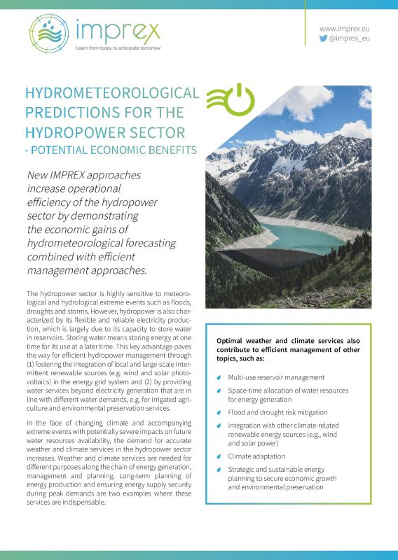 Cover Hydrometeorological predictions for the hydropower sector – potential economic benefits