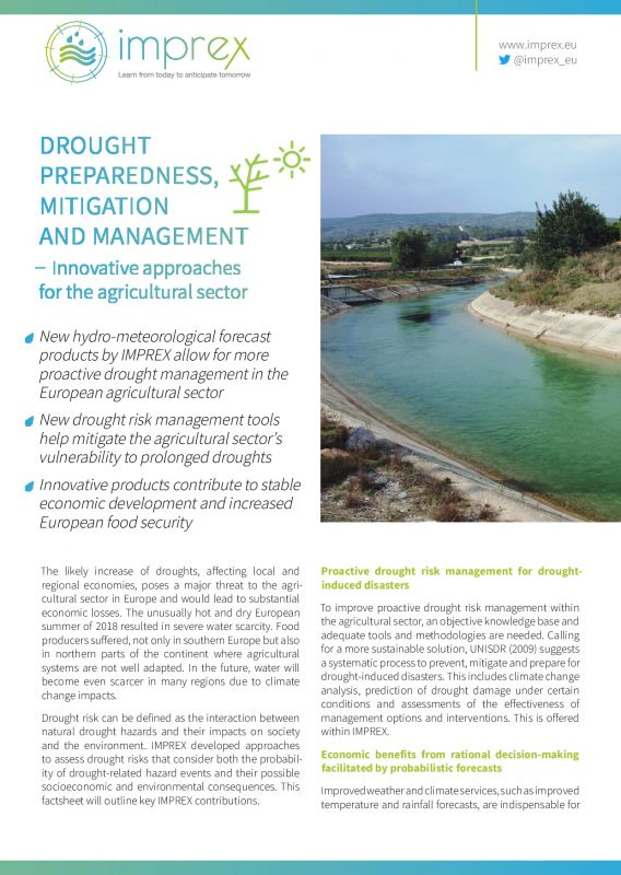 Cover Drought preparedness, mitigation and management – innovative approaches for the agricultural sector
