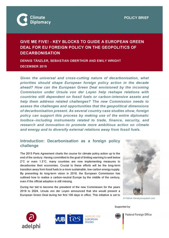 Geopolitics of Decarbonisation - Climate Diplomacy Brief: Coverbild