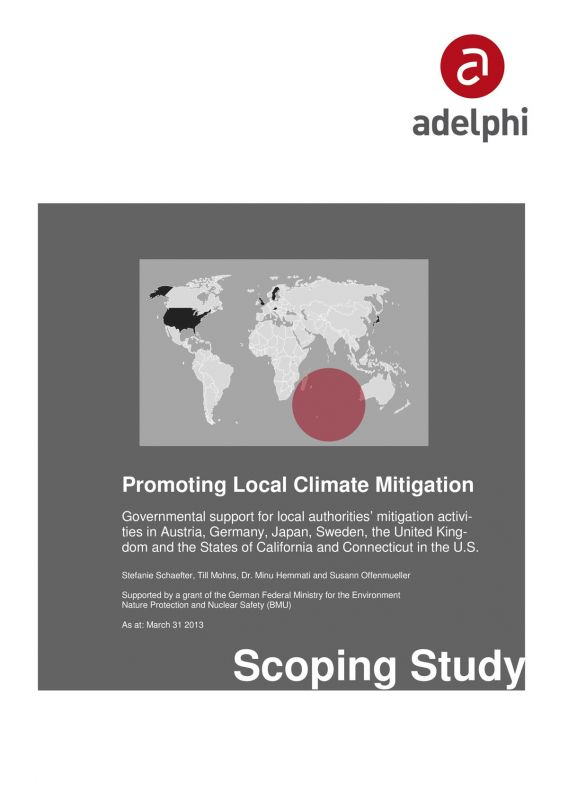 Governmental support for local authorities' mitigation activities in Austria, Germany, Japan, Sweden, the United Kingdom and the US (California and Connecticut)
