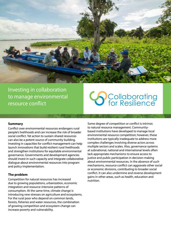 Investing in collaboration to manage environmental resource conflict