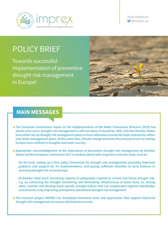Policy Brief - IMPREX Towards successful implementation of preventive drought risk management in Europe - adelphi