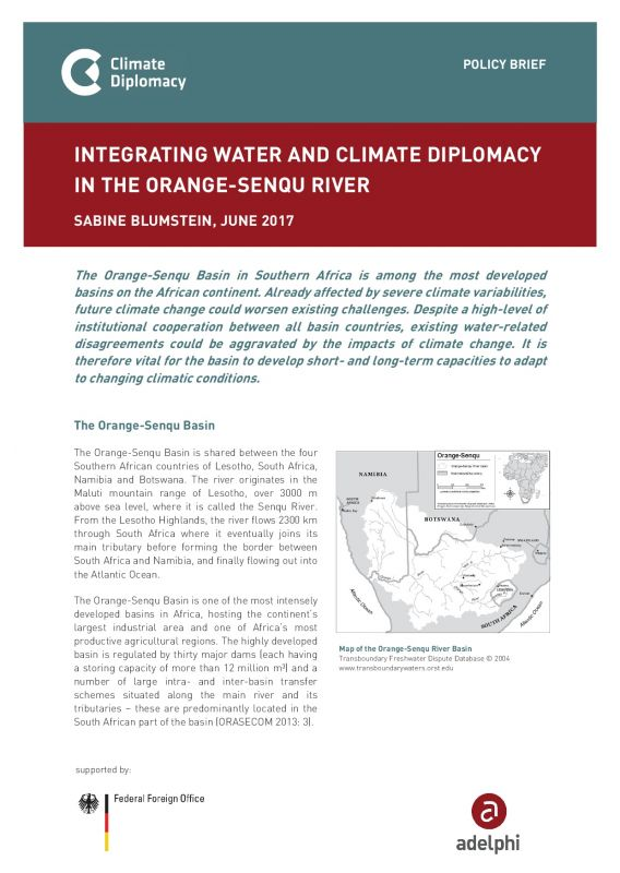 Integrating Water and Climate Diplomacy in the Orange-Senqu River - Climate Diplomacy adelphi