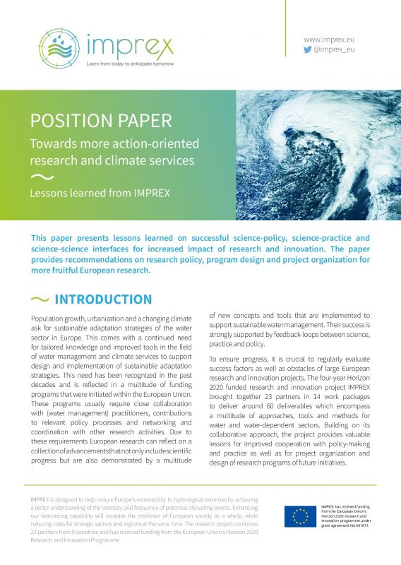 Cover POSITION PAPER: Towards more action-oriented research and climate services