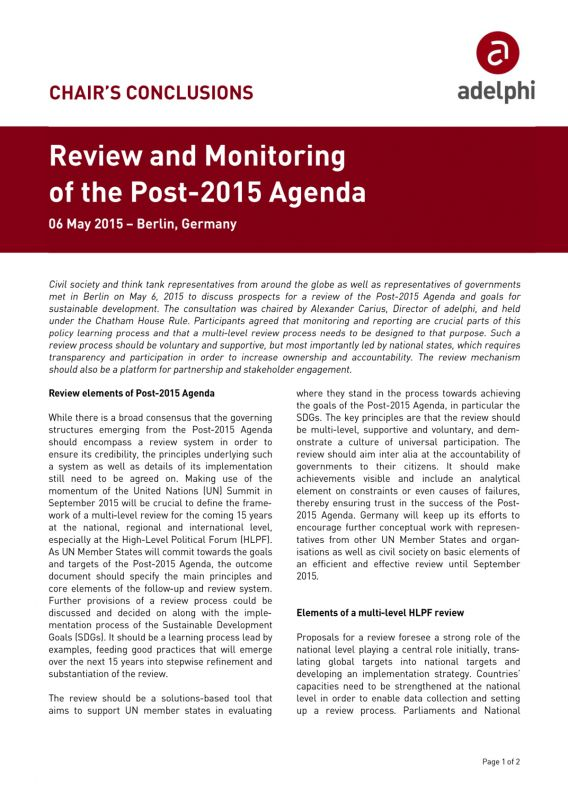 Review and Monitoring of the Post-2015 Agenda. 6 May 2015, Berlin, Germany