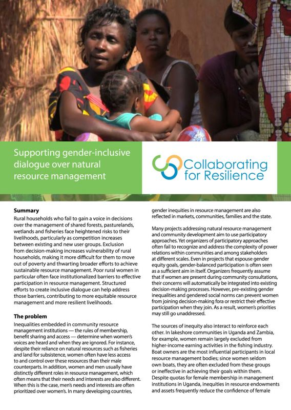 Supporting gender-inclusive dialogue over natural resource management