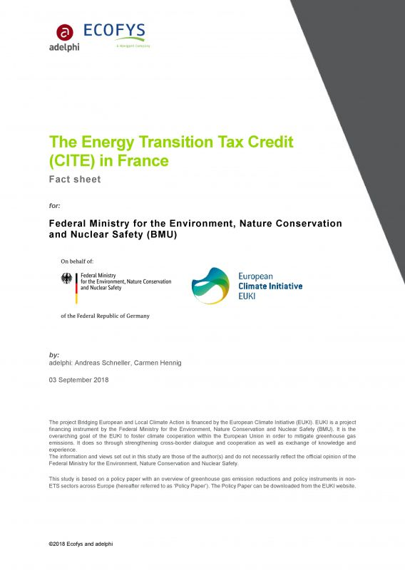 The Energy Transition Tax Credit (CITE) in France