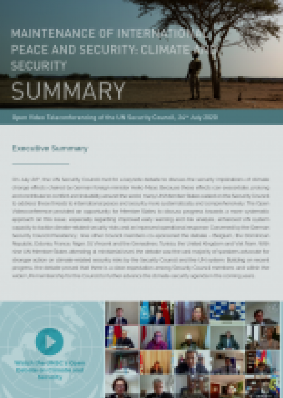 Cover Summary: UNSC Open Debate on Climate and Security – 24 July 2020