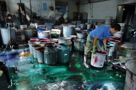 A plant with five dyeing machines will need about 250kg of dye, along with other additives. Aproximately 2500kg of dyestuff paste circulates the plant every day. This plant is located within the Binhai Industrial Zone.