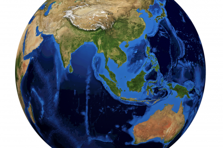 Planet earth. The view is centered on the Pacific ocean.