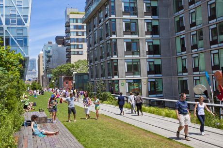 NEW YORK CITY - JUN 3: High Line Park in NYC seen on June 3rd, 2012.The High Line is a public park built on an historic freight rail line elevated above the streets on Manhattans West Side.