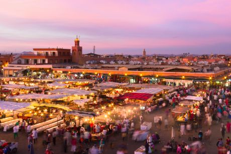 Jamaa el Fna (also Jemaa el-Fnaa, Djema el-Fna or Djemaa el-Fnaa) is a square and market place in Marrakesh's medina quarter (old city). Marrakesh, Morocco, north Africa. UNESCO Heritage of Humanity.