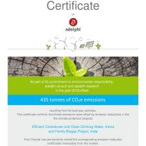 Certificate for adelphi's climate neutrality in the year 2018