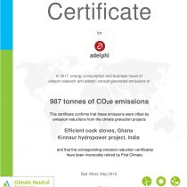 Certificate Climate Neutrality 2019 - adelphi